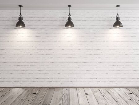 wood room: brick wall room with hanging lamps and wood floor 3D illustration Stock Photo