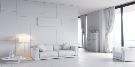 classic white interior with modern furniture 3D illustration