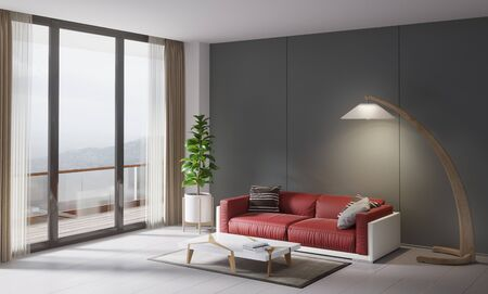 red sofa: Contemporary style interior, home living room. Red couch with small table, plant and  lamp. 3D illustration Stock Photo