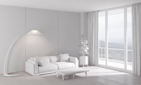 living room wall: classic white interior with modern furniture 3D illustration