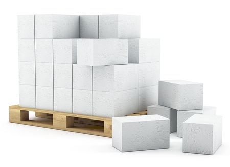 skid: 3d pallet of breeze blocks on white background 3D illustration