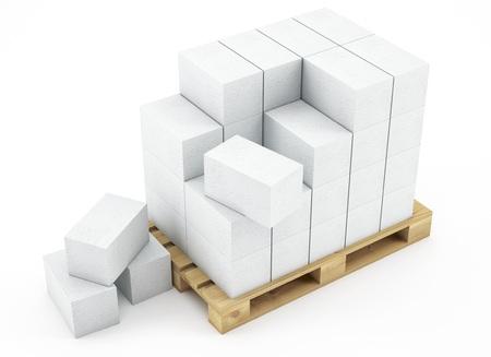 3d pallet of breeze blocks on white background 3D illustration