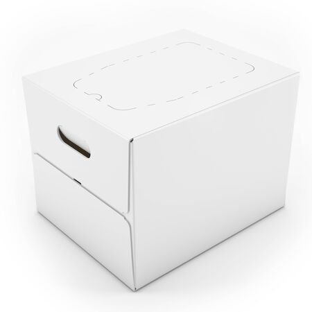 noname: 3d white blank carton box on white background 3D illustration Stock Photo