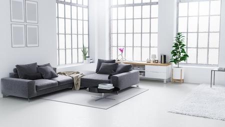interior design: White modern living room, Scandinavian interior design 3D illustration