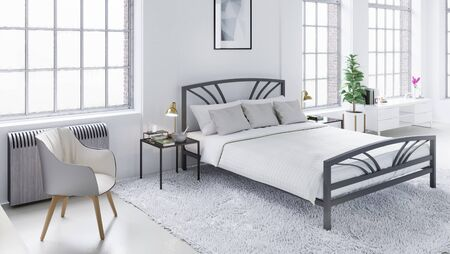 penthouse: White modern bedroom, Scandinavian interior design 3D illustration