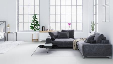 White modern living room, Scandinavian interior design 3D illustration