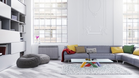 spacious: Modern spacious lounge or living room interior with tall bright windows, sofa and bookcase 3D illustration
