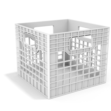3d empty plastic milk crate on white background  3D illustration