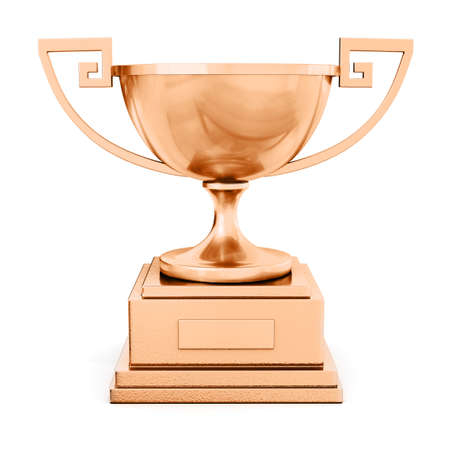 champion bronze trophy cup on white background 3D illustration Stock Photo