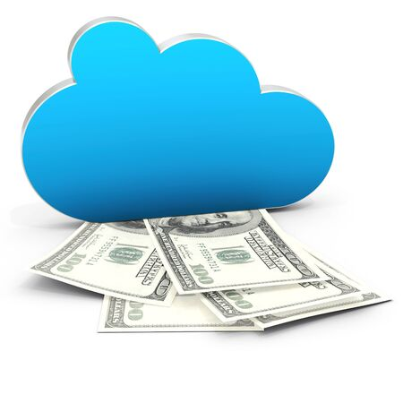 3d Cloud Computing in Finance and profits with dollar bills on white background  3D illustration