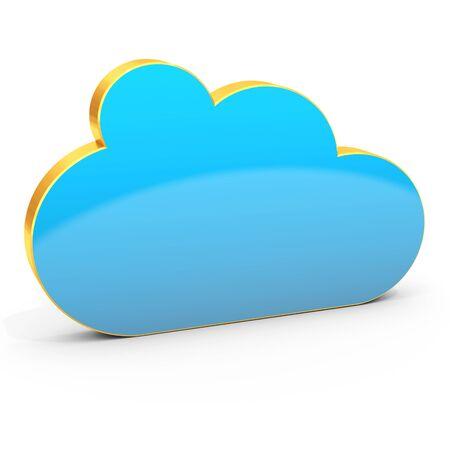 3d golden cloud computing on white background 3D illustration