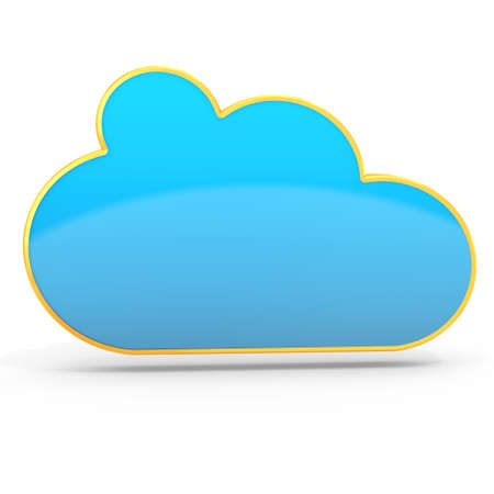 3d golden cloud computing floating on white background 3D illustration Stock Photo