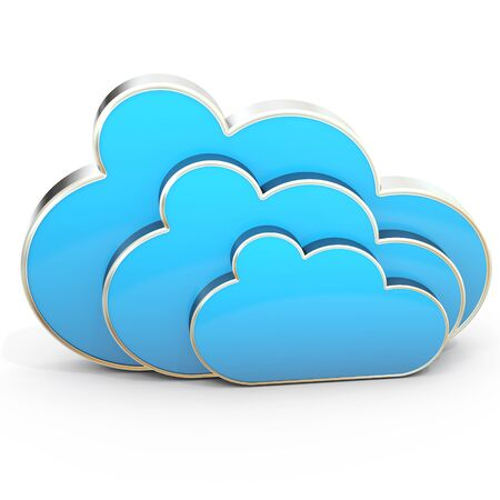 3d cloud computing power on white background 3D illustration
