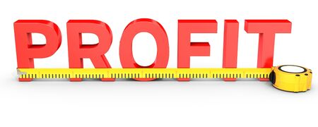 Measuring Business profit with tape measure on white background  3D illustration Stock Photo