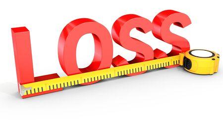白い背景の 3 D イラストを巻尺で測定損失の単語