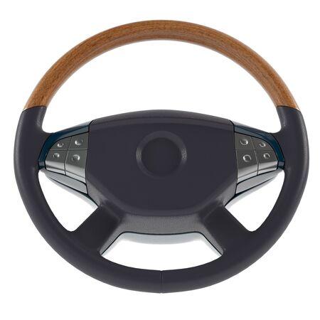3d steering wheel on a white background 3d illustration