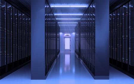 Server room interior 3D illustration