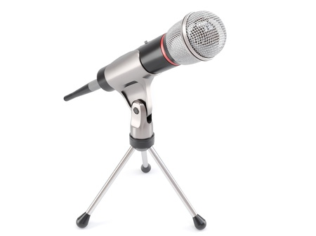 wireless microphone with stand,  radio news concept on white background 3d illustration