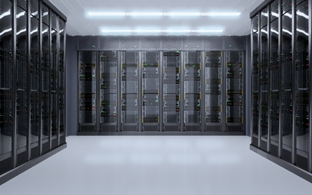 Server room interior 3D illustration