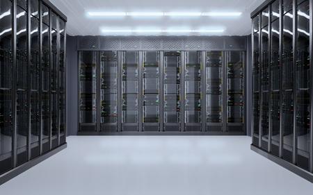 Serverraum-Innen-Illustration 3D Standard-Bild - 91252462