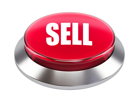 3d red button with Sell text  on white background 3d illustration Banco de Imagens