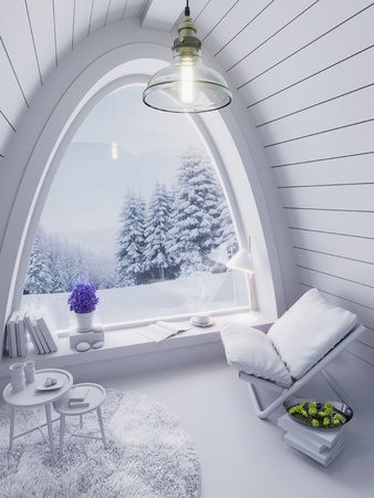 Cozy small white room on cold winter night in the mountains, evening interior of chalet with arched window 3D illustration Stock Photo