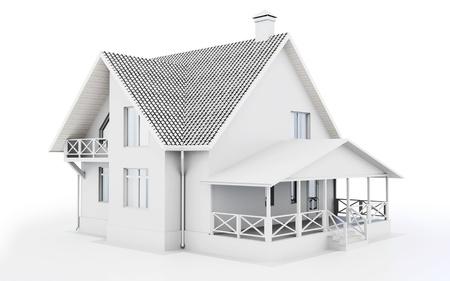 3d white modern house on white background 3D illustration