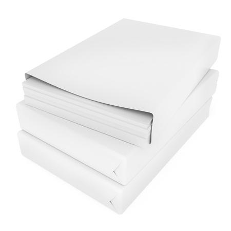 stack of printer paper, packs on white background 3d illustration 版權商用圖片