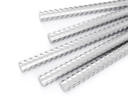 3d steel reinforcements rebar, metal or construction industry  on white background 스톡 콘텐츠