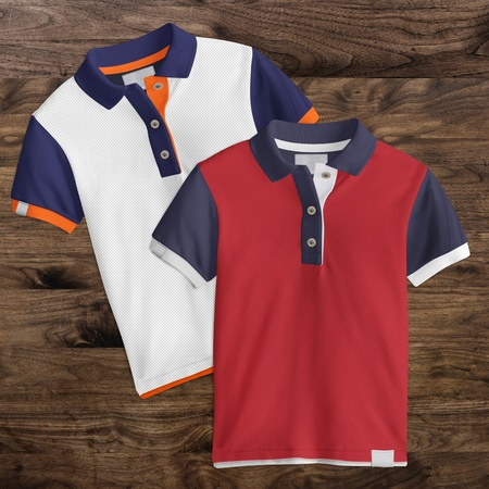 Two designs, Polo T-Shirt mockup, front view on wooden background