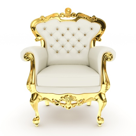 3d king's throne, royal chair on white background 3d illustration Stockfoto
