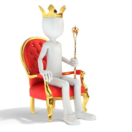 3d man king sitting on the royal throne  on white background 3d illustration