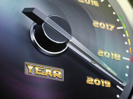 2019 year car speedometer count-down concept. 3d illustration