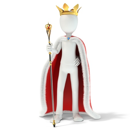 3d man king with crown and scepter on white background 3d illustration