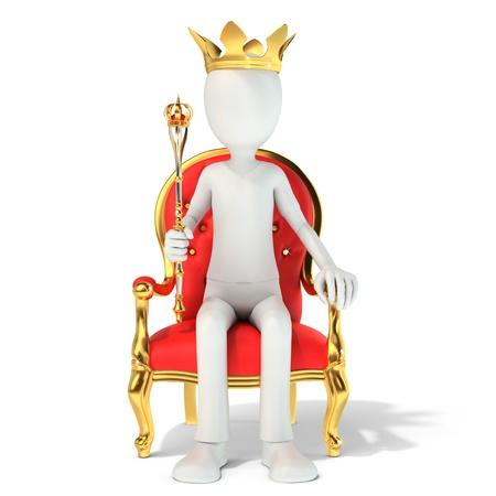3d homme roi assis sur le trône royal sur fond blanc illustration 3d