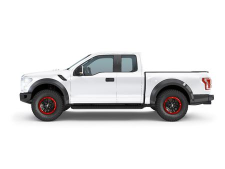 Modern white pick-up truck, suv vehicle on white background 3d illustration