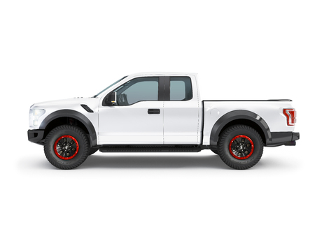Modern white pick-up truck, suv vehicle on white background 3d illustration Stock Photo