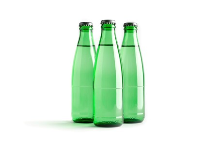 Colored blank bottles, mockup for beverages 3d illustration