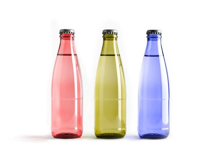 Colored blank bottles, mockup for beverages 3d illustration Stock fotó - 118498343