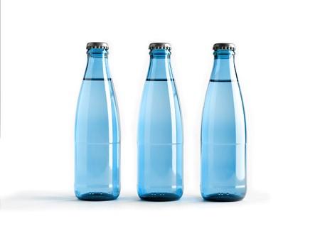 Colored blank bottles, mockup for beverages 3d illustration