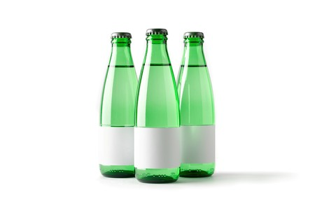 Colored blank bottles with labels, mockup for beverages 3d illustration Stock fotó