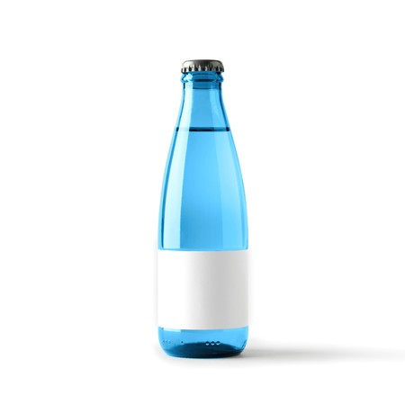 Colored blank bottle, mockup for beverages 3d illustration