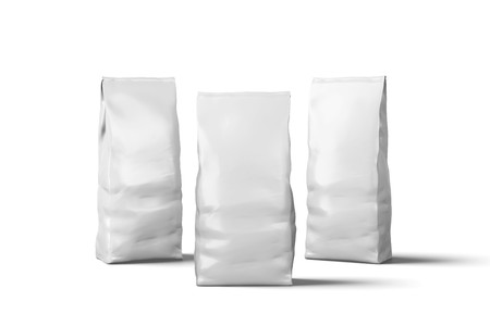 Blank packaging, white plastic coffee bags on white background 3d Illustration Banque d'images
