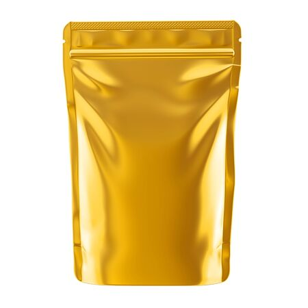Golden blank foil food pack stand up pouch bag packaging with zipper mock up, 3d illustration Stockfoto