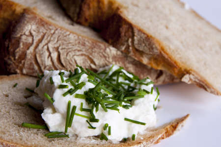 Healty bread with cottage cheese and green chives photo