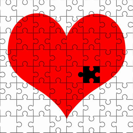 A red heart jigsaw puzzle without one piece, good image for a broken heart, love, romance and Valentine themes. photo