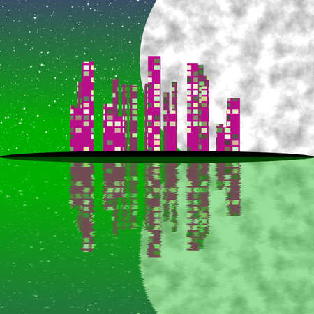 Abstract pink town with green sky and big moon be reflected on green water photo