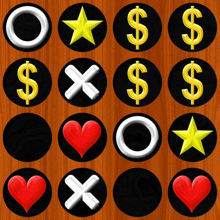 sigh: Tic Tac Toe wooden board with white symbol, heard, stars and dollar sigh Stock Photo
