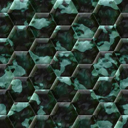 cobble: Cobble hexagon dark green stone background - illustrated seamless texture