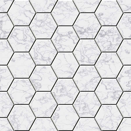 cobble: Cobble hexagon marble stone background - illustrated seamless texture Stock Photo